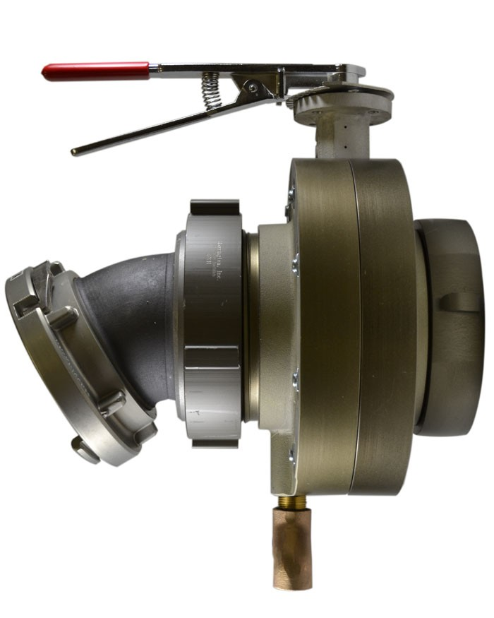 BV78, 4 National Pipe Thread (NPT) Female X 4 Storz  Butterfly Valve,with Chrome Plated Lever Handle