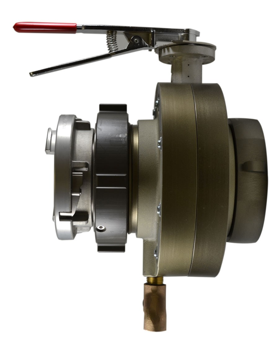BV78, 4 National Standard Thread (NST) Swivel X 4 Storz  Butterfly Valve,with Chrome Plated Lever Handle