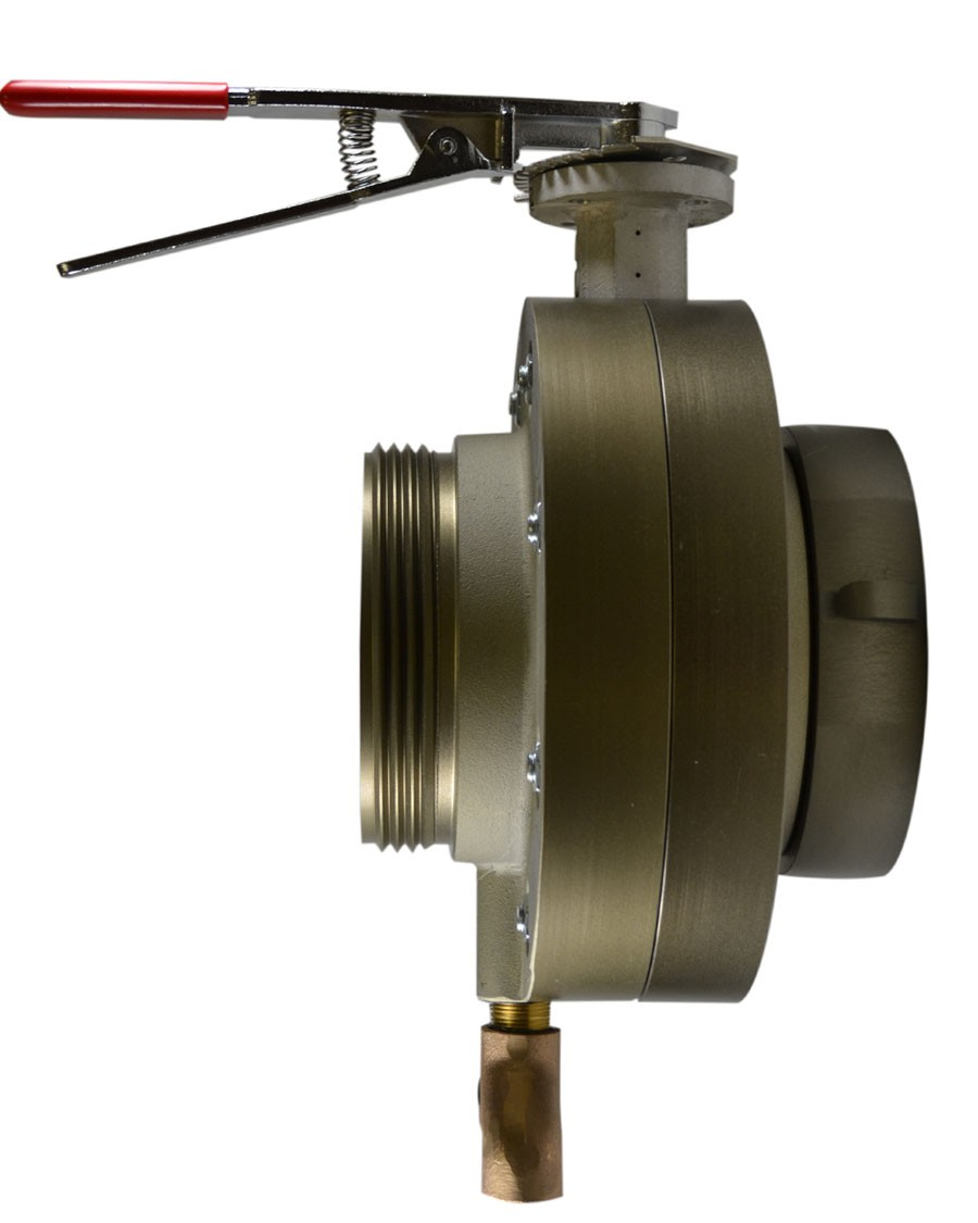 BV78, 4 National Pipe Thread (NPT) Female (Rigid) X 4.5 National Standard Thread (NST) Male 5 Butterfly Valve,with Chrome Plated Lever Handle