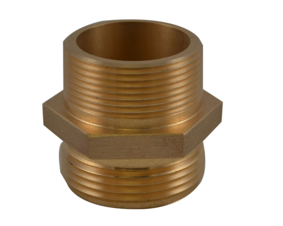 HDM32, 1.5 Customer Thread Male X 1 Customer Thread Male Nipple Brass, Hex Adapter