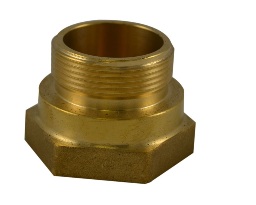 HFM34, 2 Customer Thread Female X 1.5 Customer Thread Male Bushing Brass, Hex Bushing Made of Brass