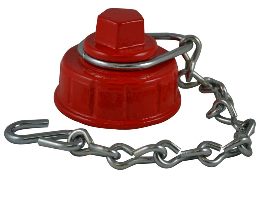 HCC73, 4.5 Customer Thread F Hydrant Cap with Chain Painted