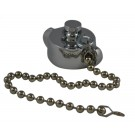 HCC28, 1 Customer Thread Female Cap Brass Chrome Plated with Chain, Rockerlug Tested to 500 psi